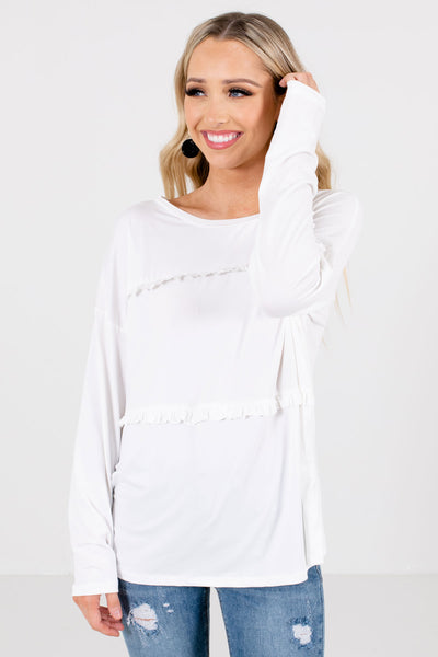 Women's White High-Quality Stretchy Material Boutique Top