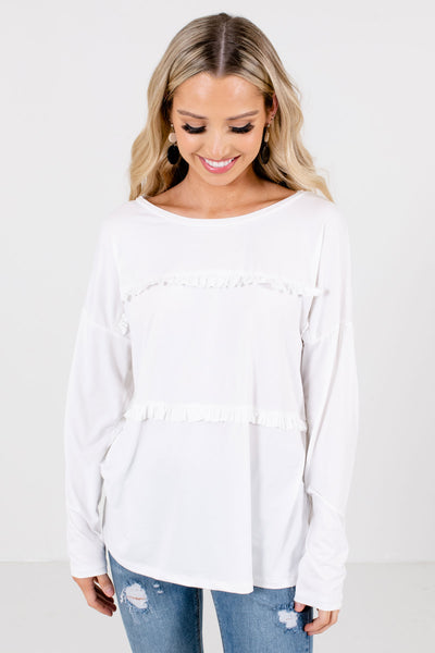 White Ruffle Accented Boutique Tops for Women