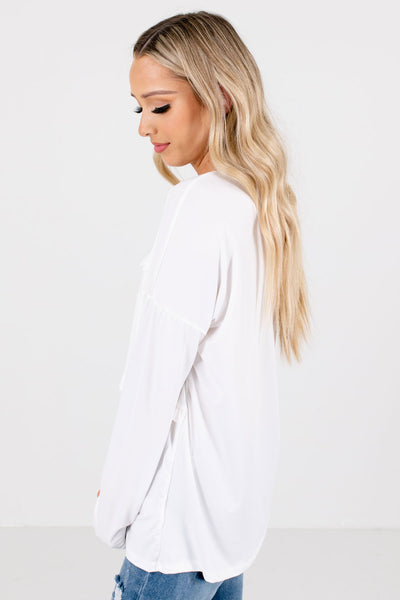 White Round Neckline Boutique Tops for Women