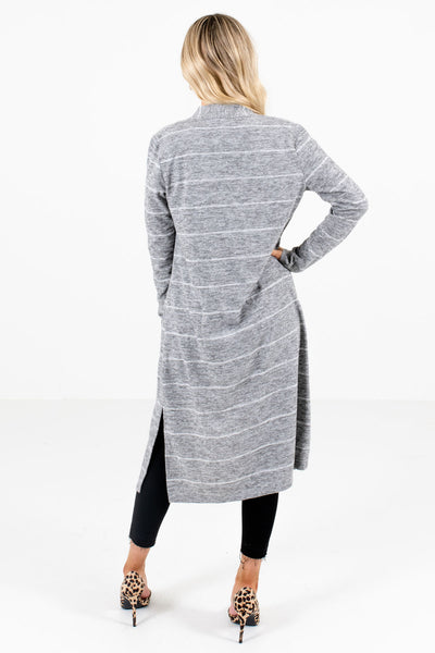 Women's Gray Side Hem Slit Boutique Cardigan