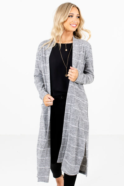 Women's Gray Boutique Cardigans with Pockets