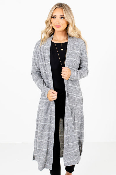 Heather Gray and White Striped Boutique Cardigans for Women