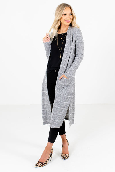Women's Gray Long Sleeve Boutique Cardigans