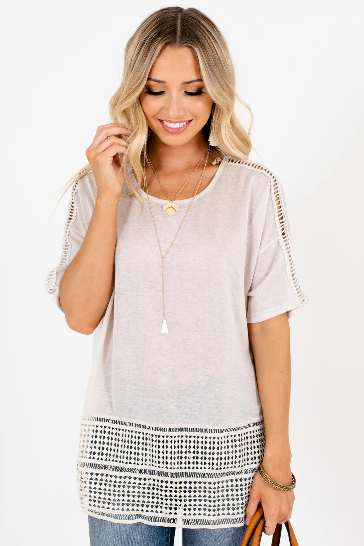 Beige Ladder Lace Sleeve Geometric Cutout Panel Top