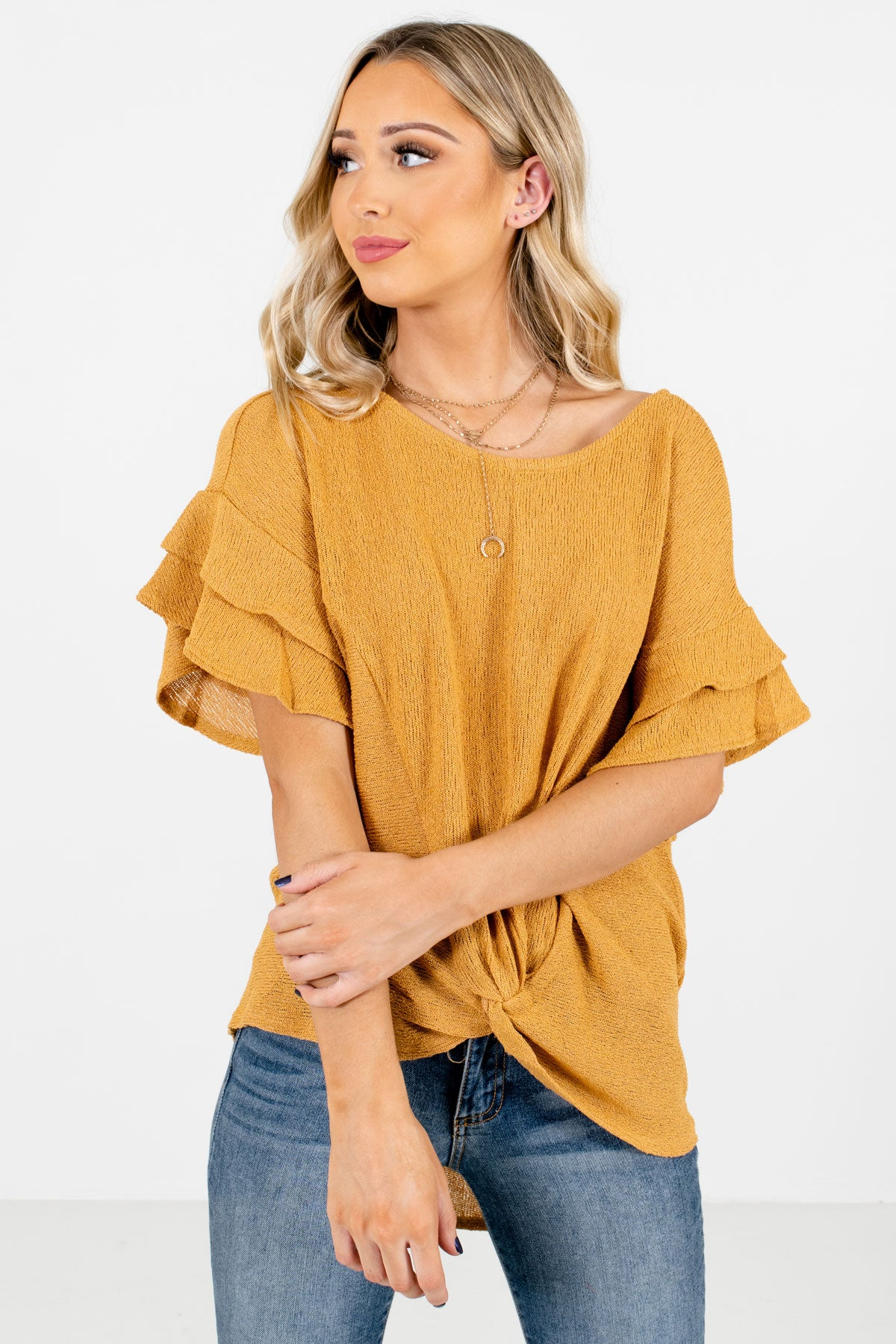 Mustard Yellow Ruffle Sleeve Boutique Tops for Women