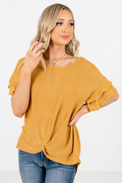 Women's Mustard Yellow Casual Everyday Boutique Tops