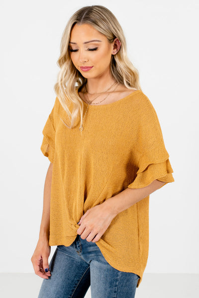 Mustard Yellow Infinity Knot Detail Boutique Tops for Women
