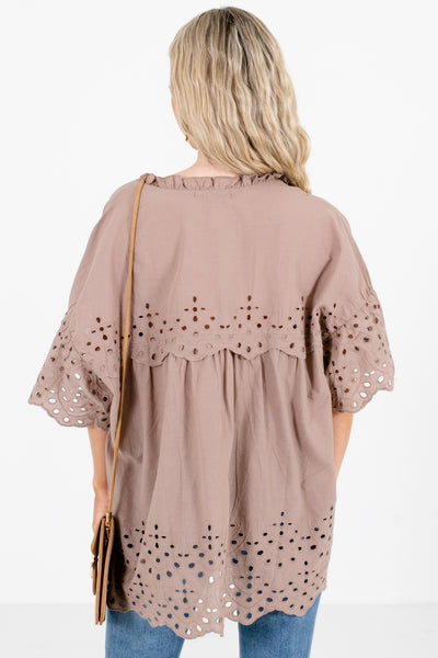 Women's Taupe Brown Ruffle Accented Boutique Blouse