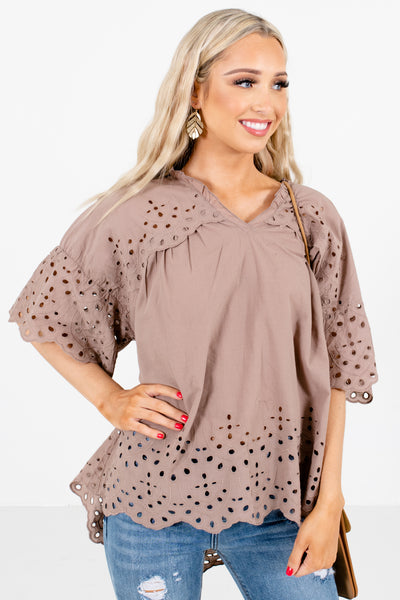 Women's Brown Cute and Comfortable Boutique Blouse