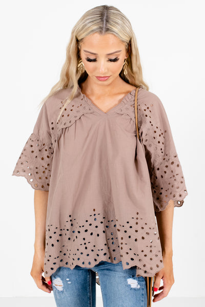 Taupe Brown Eyelet Detailed Boutique Blouses for Women