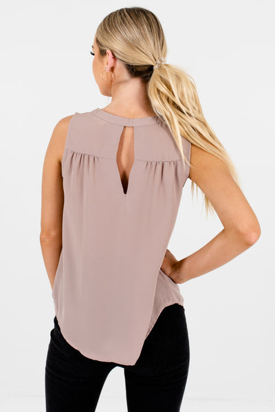 Beige V Neckline Sleeveless Pleated Cut Out Back Business Casual Blouses for Women