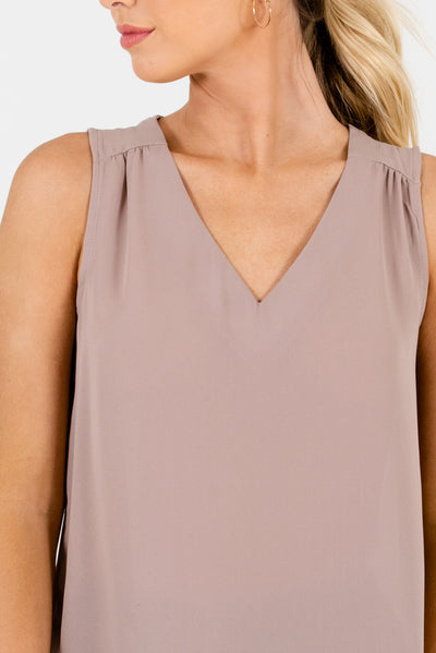 Beige Sleeveless Pleated High Quality V Neckline Cut Out Back Tops and Blouses Work Attire