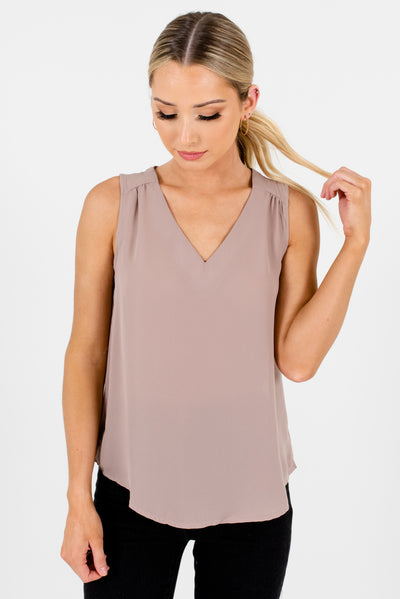 Beige Brown V Neckline Pleated Sleeveless Cutout Back Business Casual Tops and Blouses