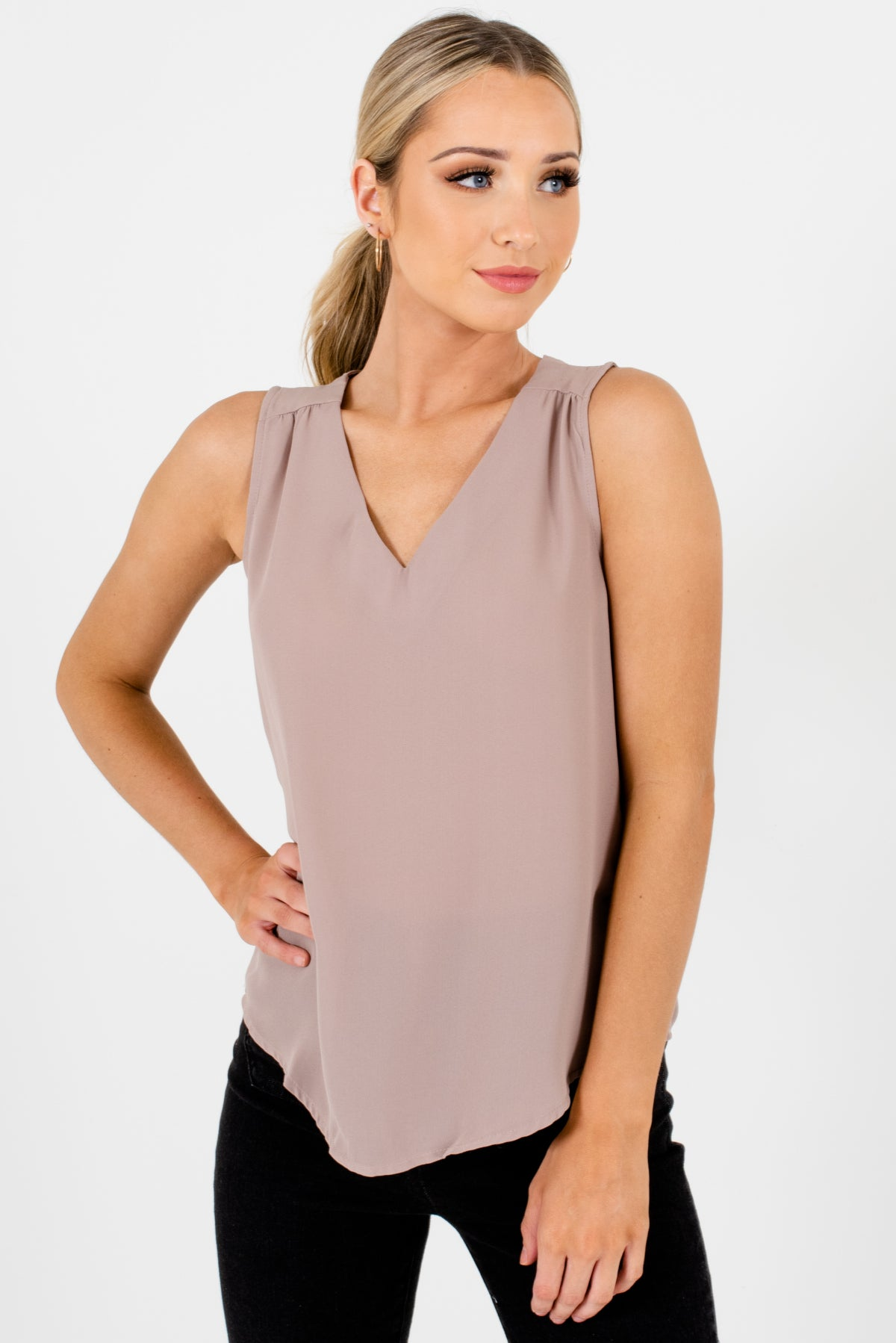 Beige Taupe V Neck Sleeveless Cut Out Back Office Appropriate Fashion Blouses