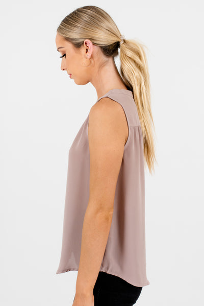 Beige Taupe Light Brown Cut Out Back Pleated Sleeveless V Neckline Blouses for the Office