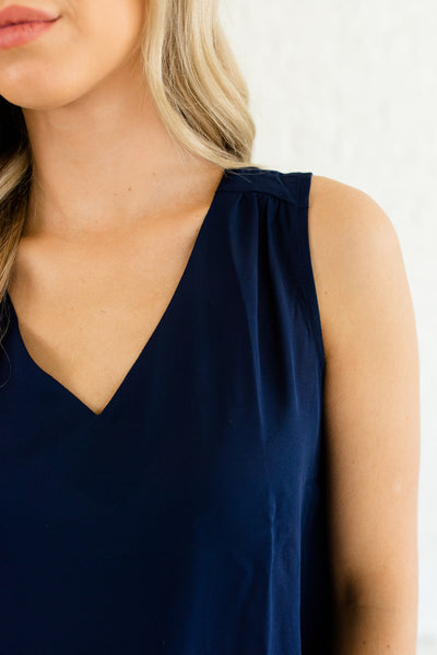 Navy Blue V-Neckline Boutique Blouses for Women