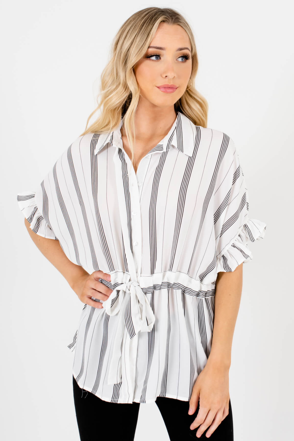 White Black Striped Button-Up Shirt Collar Ruffle Sleeve Waist Tie Blouse