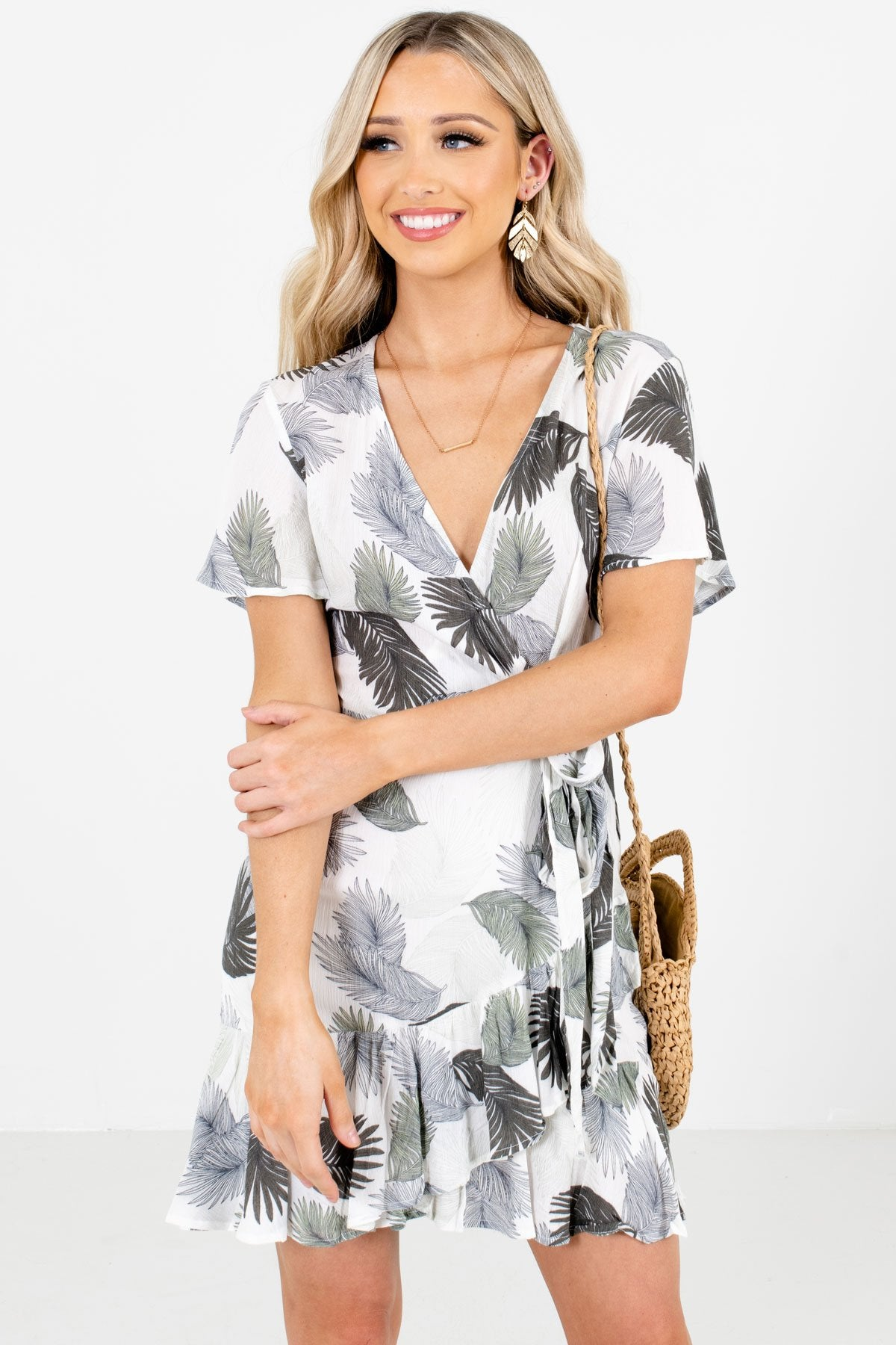 White and Green Feather Patterned Boutique Faux Wrap Dresses for Women