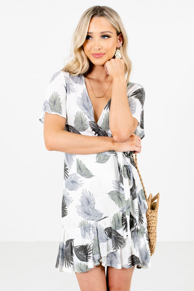 Cute White and Green Faux Wrap Flutter Sleeve Boutique Dresses for Women