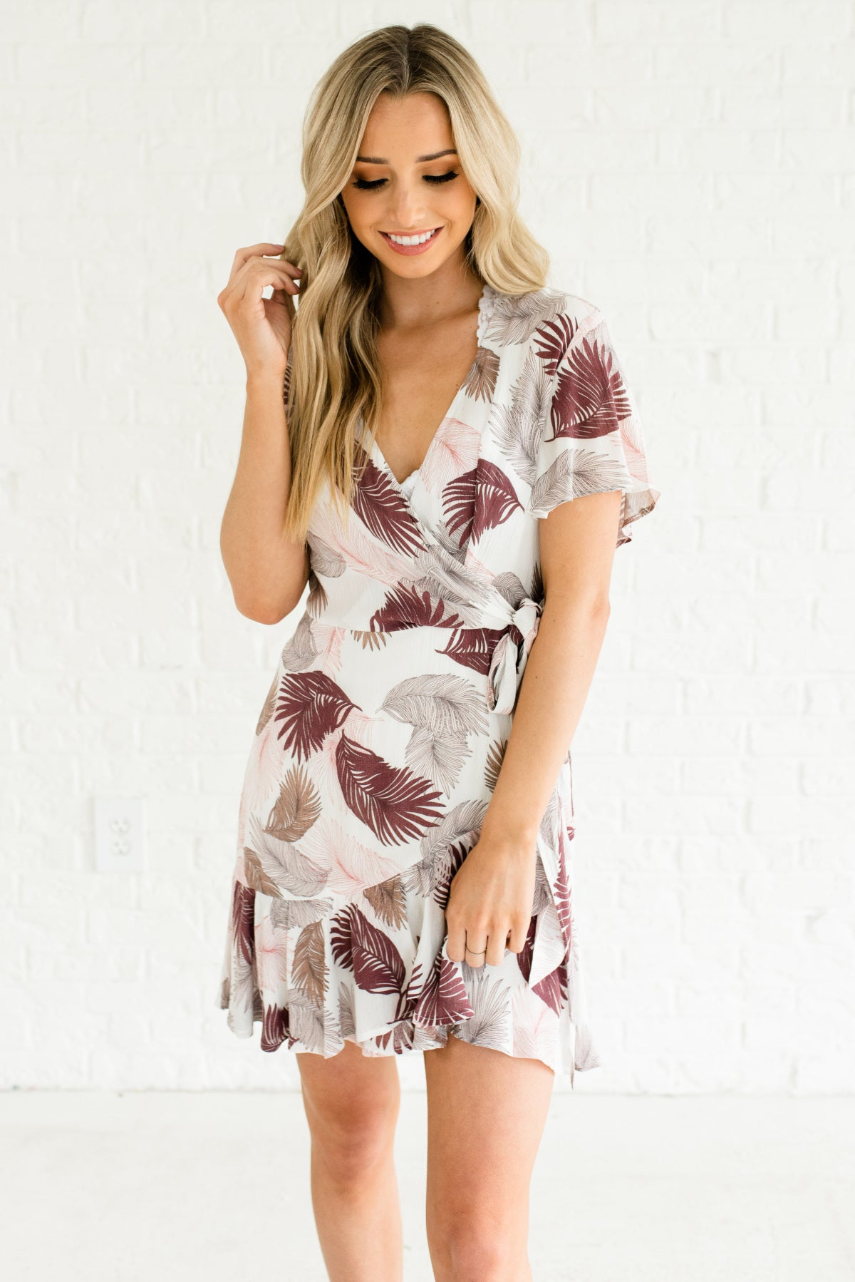 Purple and White Feather Patterned Faux Wrap Boutique Dresses for Women