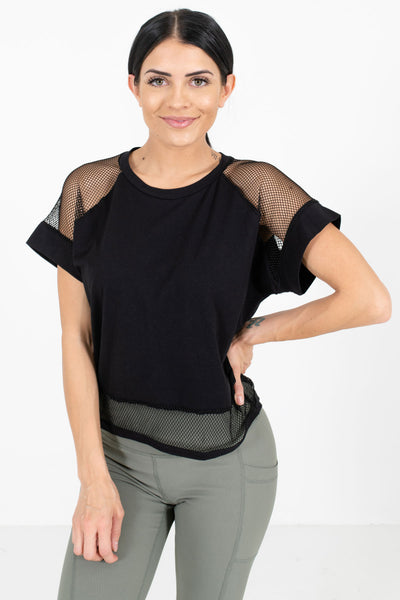 Black Active Mesh Accent Tee
