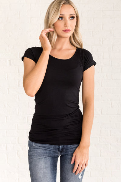 Black Long Fit Tees for Women
