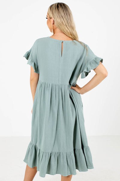 Green Partially Lined Boutique Midi Dresses for Women
