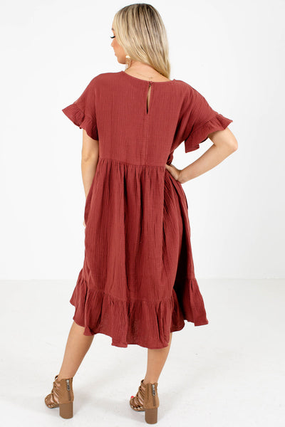 Women's Red Keyhole Back Boutique Midi Dress