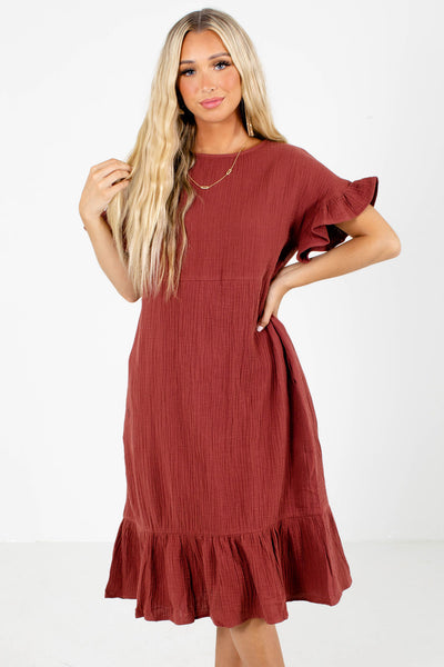 Red Ruffle Accented Boutique Midi Dresses for Women
