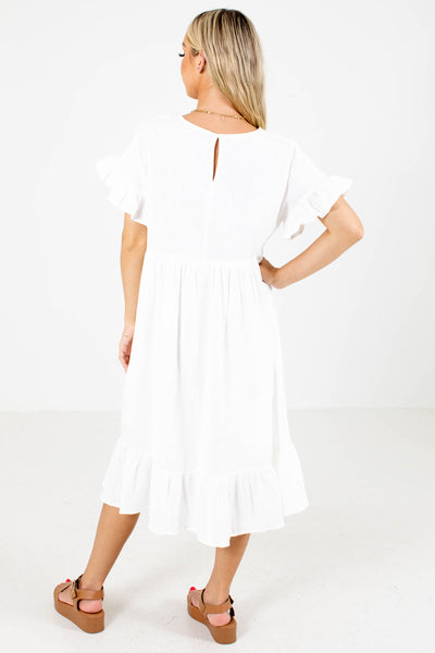 Women's White Casual Everyday Boutique Midi Dress
