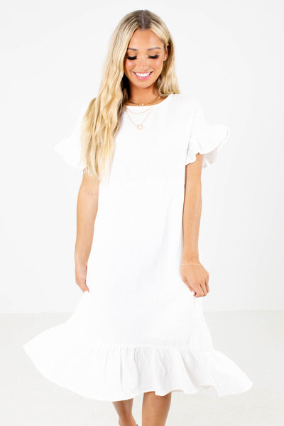 White Cute and Comfortable Boutique Midi Dresses for Women