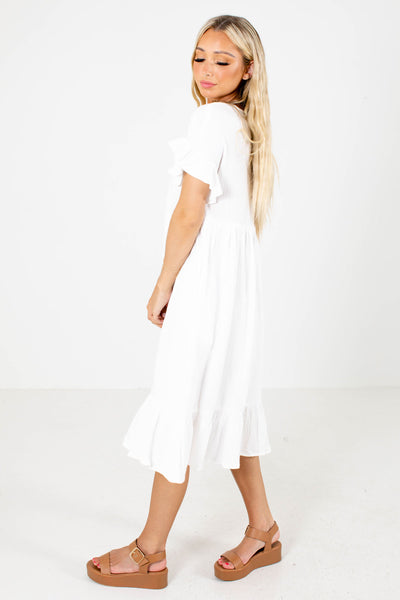 White Ruffled Boutique Midi Dresses for Women