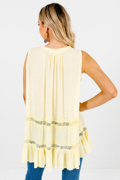 Yellow Oversized Lace Peasant Tie-Neckline Tank Tops for Women