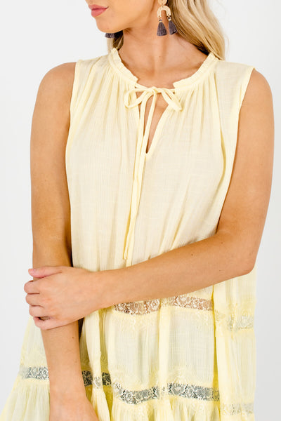 Yellow Peasant Eyelash Lace Tank Tops Affordable Online Boutique