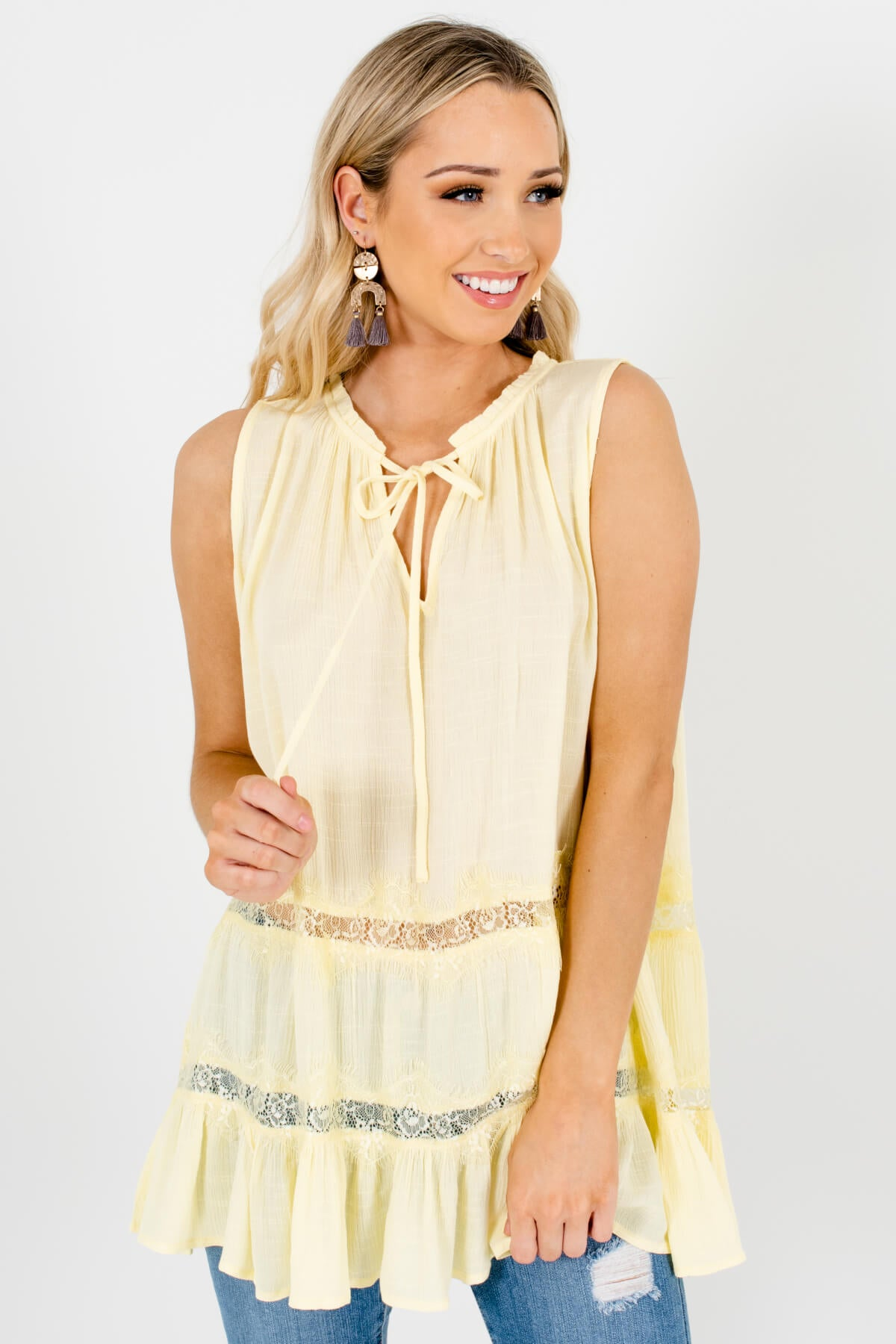 Yellow Eyelash Lace V-Neck Tie Neckline Oversized Tank Tops