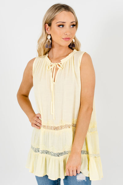 Yellow Lace Pleated Peasant Tank Tops with Tie Neckline