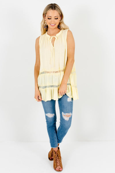 Yellow Eyelash Lace Peasant Tank Tops Affordable Online Boutique