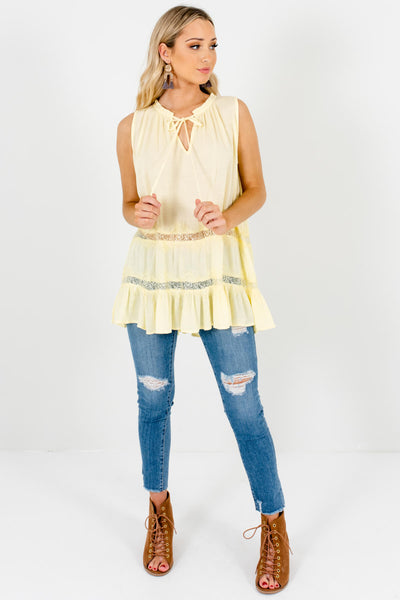 Yellow Eyelash Lace Peasant Tank Tops with Tie Neckline Detail