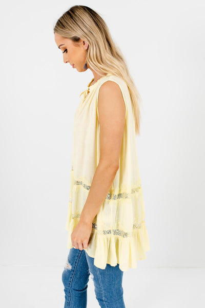 Daffodil Yellow Lace Peasant Tank Tops Affordable Online Boutique