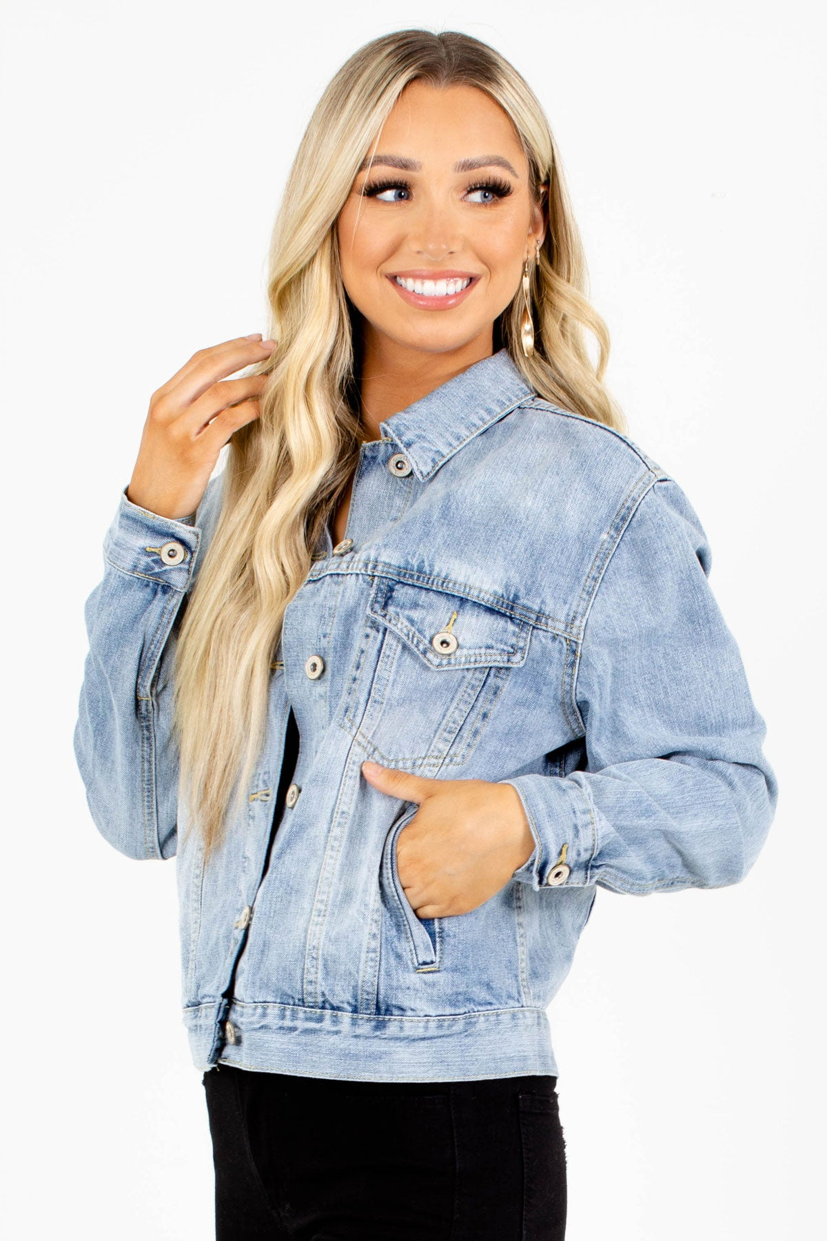 Denim Jacket with Pockets for Women