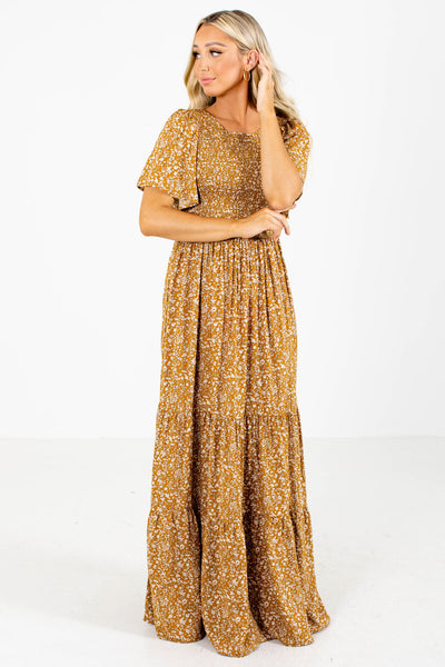 Women's Mustard Yellow Lightweight Boutique Maxi Dress
