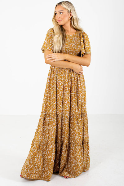 Mustard Yellow Cute and Comfortable Boutique Maxi Dresses for Women