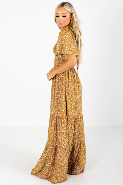Mustard Yellow Keyhole Back Boutique Maxi Dresses for Women