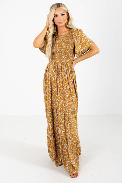 Mustard Yellow and White Floral Boutique Maxi Dresses for Women
