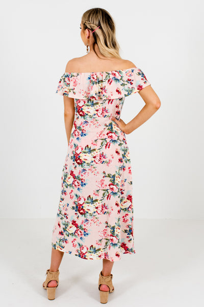 Pink Multicolored Floral Print Button Up Off Shoulder Midi Dresses