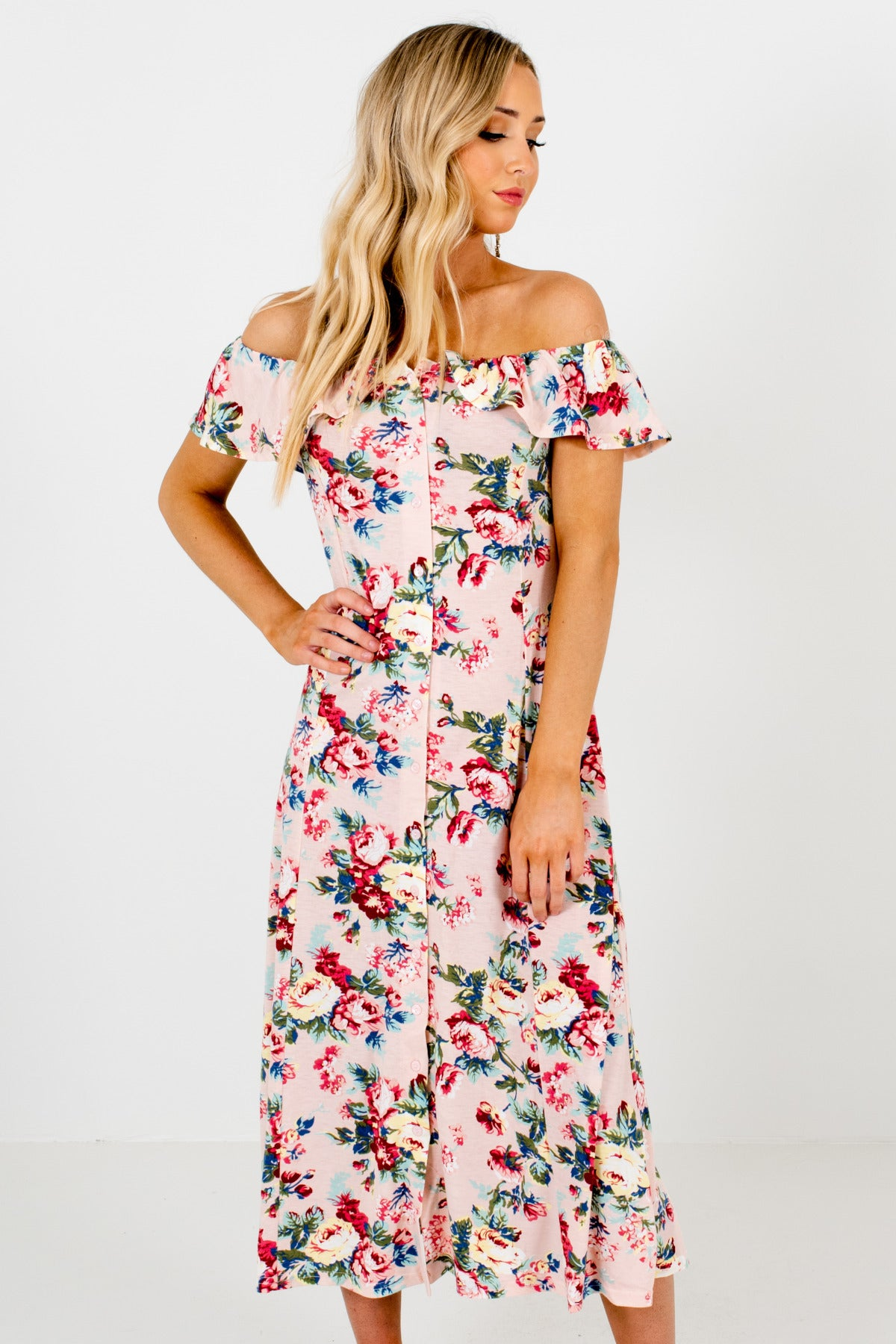 Pink Blue Green Yellow Floral Print Button Up Off Shoulder Dresses
