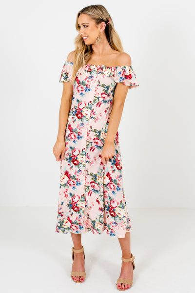 Blush Pink Multicolored Floral Print Button Up Off Shoulder Midi Dresses