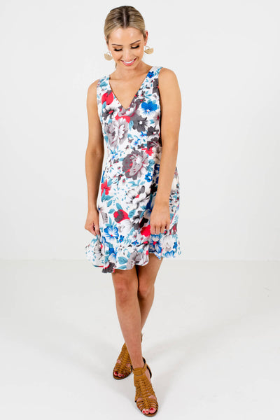White Blue Pink Gray Floral Print Satin Mini Dresses for Women