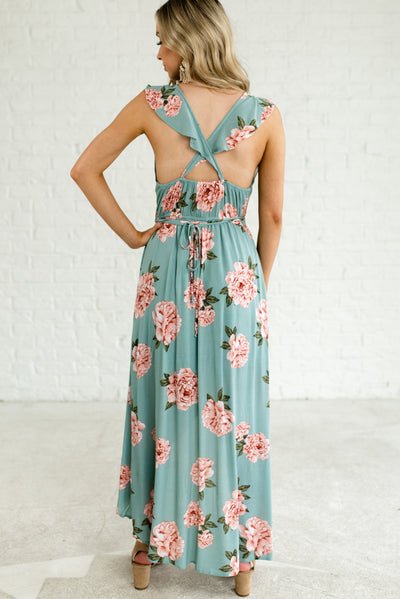 Light Teal Blue Women's Faux Wrap Style Boutique Dress