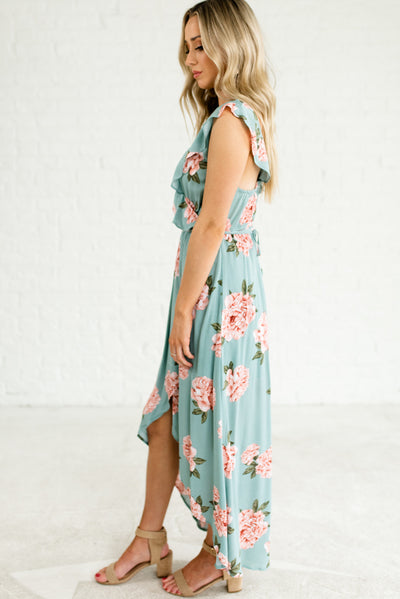 Light Teal Blue High-Low Hem Women's Boutique Dress